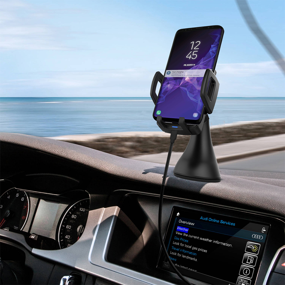 qi fast wireless charging car mount for samsung galaxy s9. Black Bedroom Furniture Sets. Home Design Ideas
